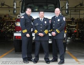 Pictured from Left to Right Deputy Chief Matt McClurg, Chief Billy Hamm, Captain Kevin Pfielsticker